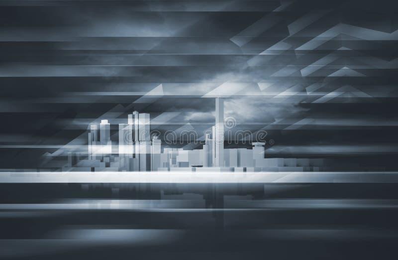 Skyline des Stadtbilds 3d und dunkler drastischer Himmel stock abbildung