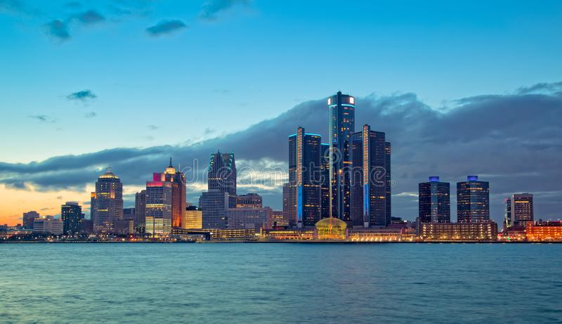 Skyline of Detroit Michigan at sunset. Cityscape of Detroit Michigan at sunset royalty free stock photos