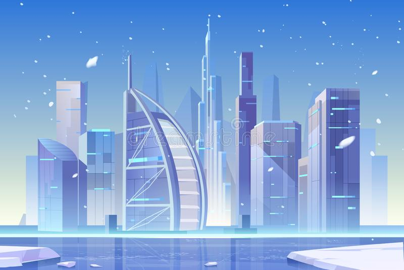 Skyline di Winter City a Gibilterra, architettura royalty illustrazione gratis