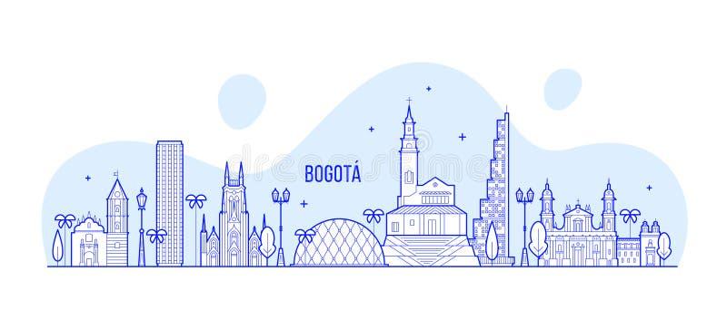Skyline Distrito Colômbia principal de Bogotá um vetor ilustração stock
