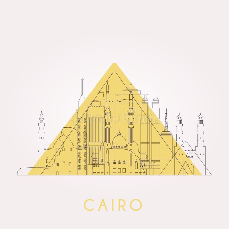Skyline do Cairo do esboço ilustração do vetor