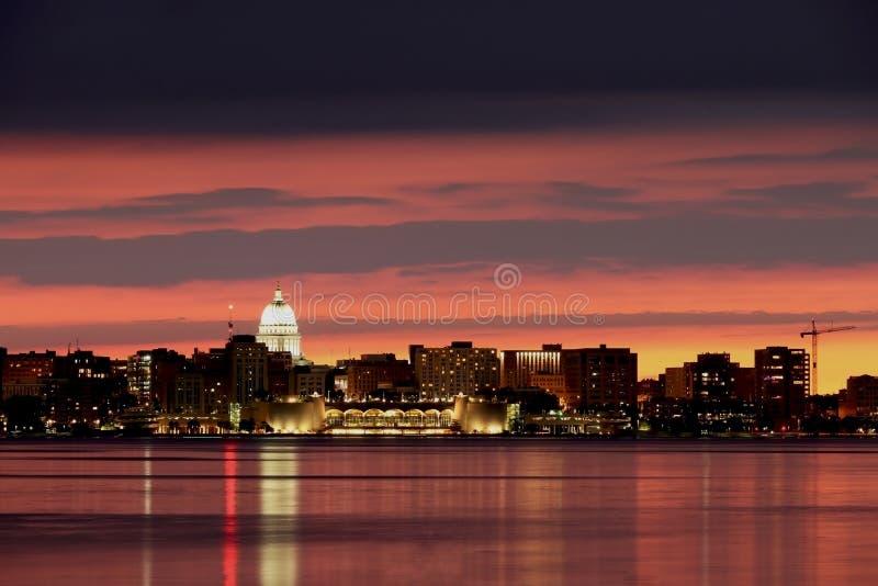 Skyline do centro de Madison fotos de stock
