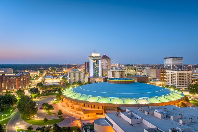 Skyline do centro de Wichita, Kansas, EUA fotos de stock