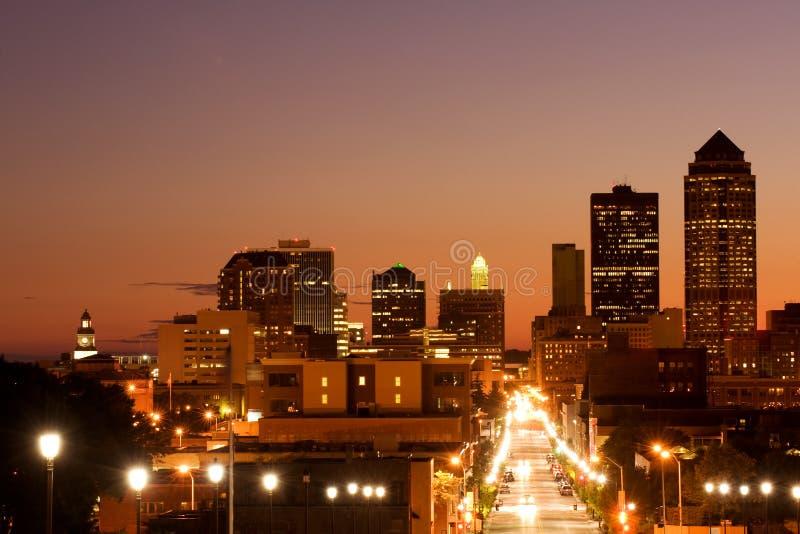 Skyline do DES Moins fotografia de stock