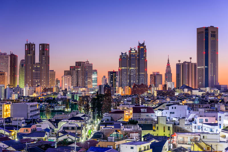 Skyline do distrito de Tokyo Financial fotografia de stock royalty free