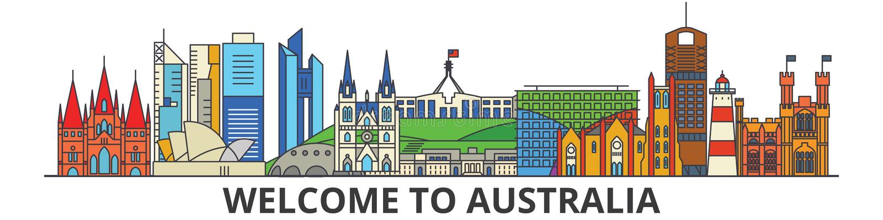 Skyline do esboço de Austrália, linha fina lisa australiana ícones, marcos, ilustrações Arquitetura da cidade de Austrália, austr ilustração stock