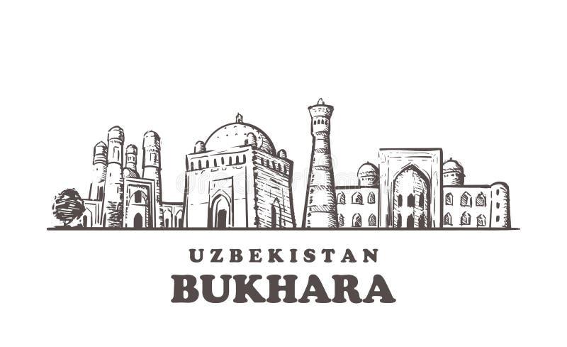 Skyline do esboço de Bukhara Ilustração tirada mão de Bukhara, Usbequistão ilustração royalty free