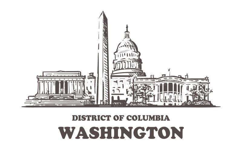 Skyline do esboço de Washington Washington, ilustração tirada mão do distrito de Columbia ilustração stock