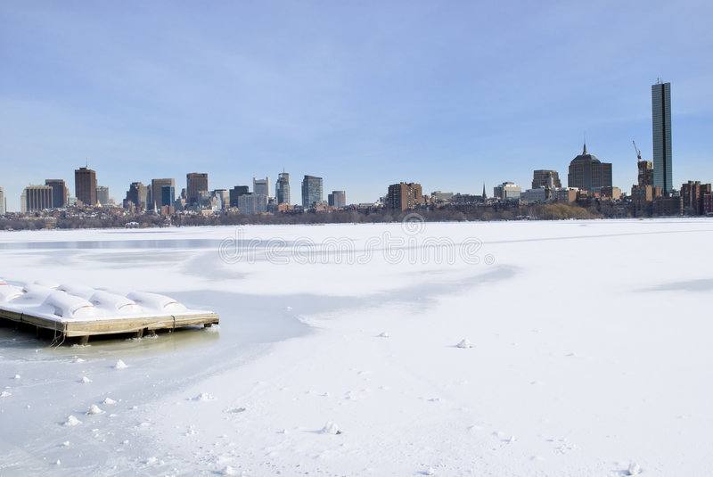 Skyline do inverno de Boston foto de stock