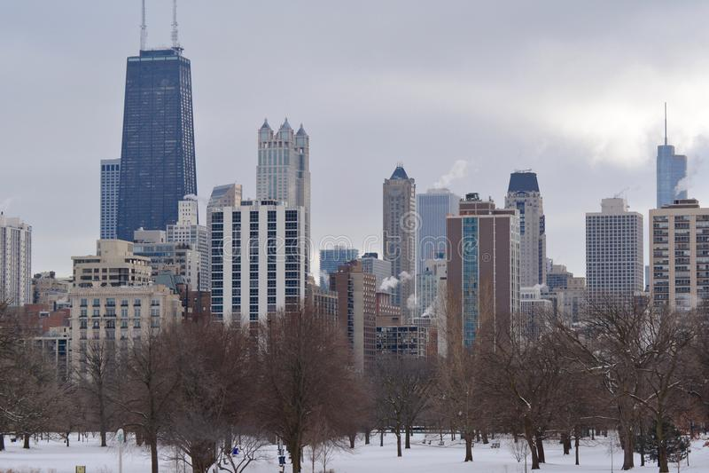 Skyline do inverno de Chicago imagem de stock royalty free
