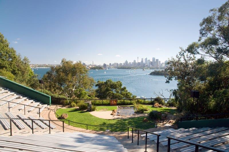 Skyline do JARDIM ZOOLÓGICO e da cidade de Sydney fotografia de stock