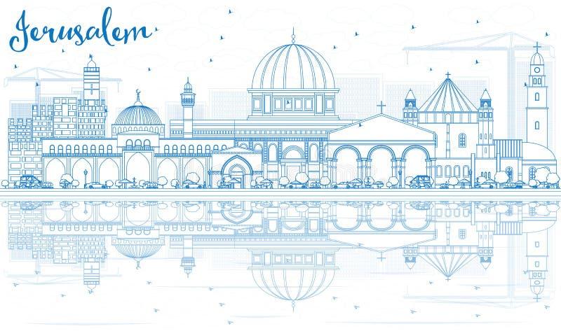 Skyline do Jerusalém do esboço com construções azuis e reflexões ilustração do vetor