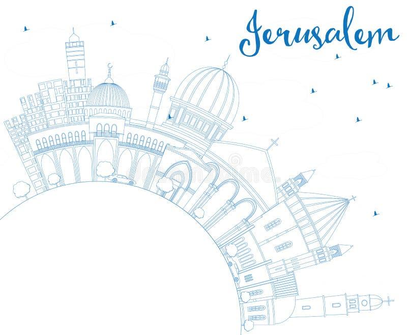 Skyline do Jerusalém do esboço com construções e espaço azuis da cópia ilustração royalty free