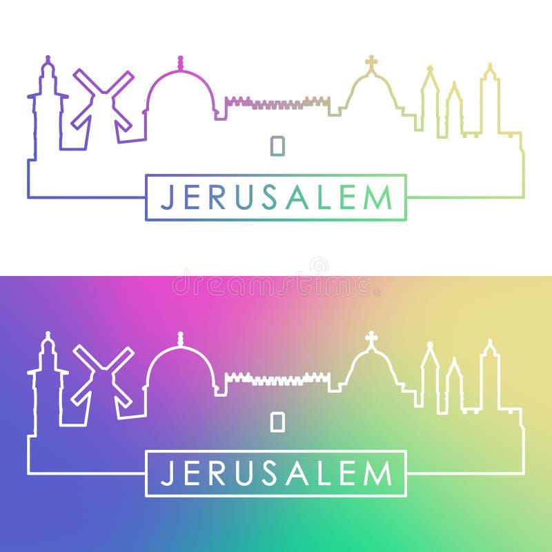 Skyline do Jerusalém Estilo linear colorido ilustração stock