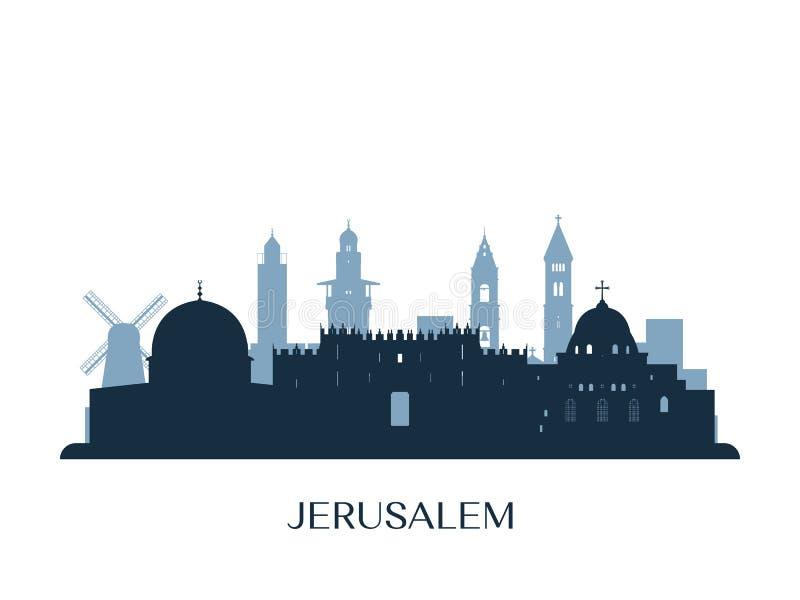 Skyline do Jerusalém, silhueta monocromática ilustração stock