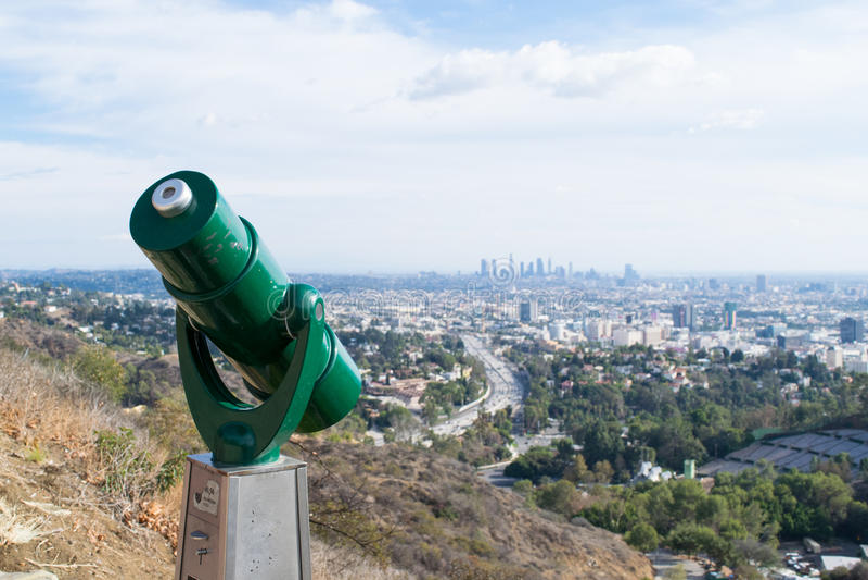 Skyline do LA que sightseeing em Mulholland fotos de stock