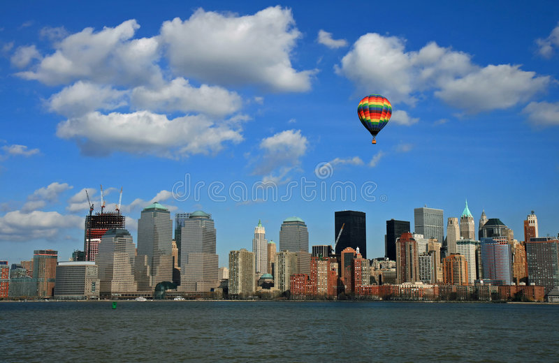 A skyline do Lower Manhattan foto de stock