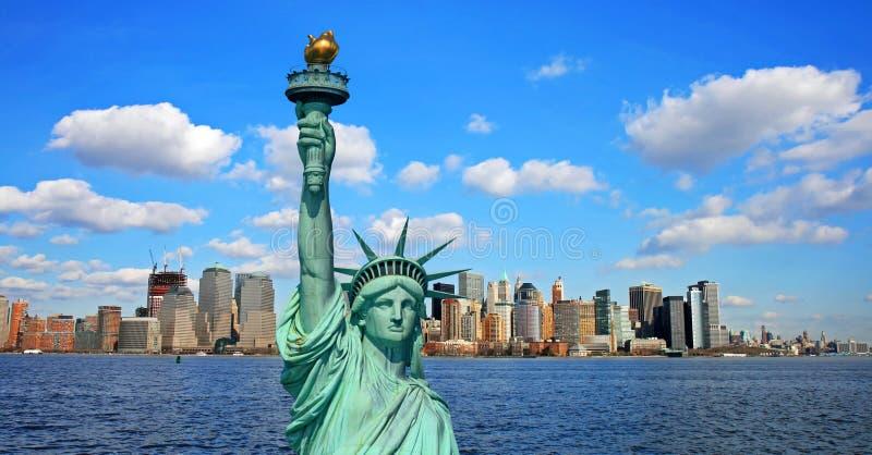 A skyline do Lower Manhattan foto de stock