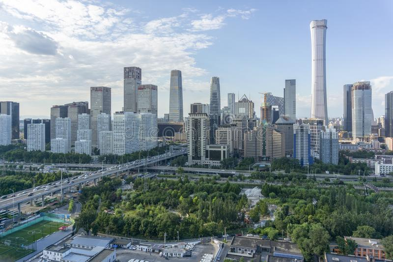 Skyline do Pequim CBD imagens de stock royalty free