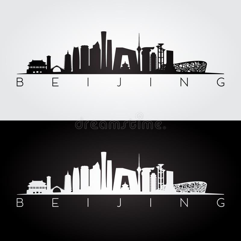 Skyline do Pequim e silhueta dos marcos