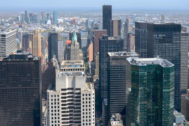 Skyline do ponto de vista, arranha-céus de New York City da opinião aérea de Manhattan fotos de stock royalty free