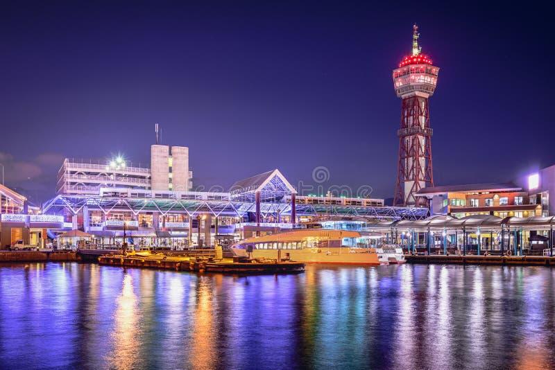 Skyline do porto de Fukuoka, Japão foto de stock