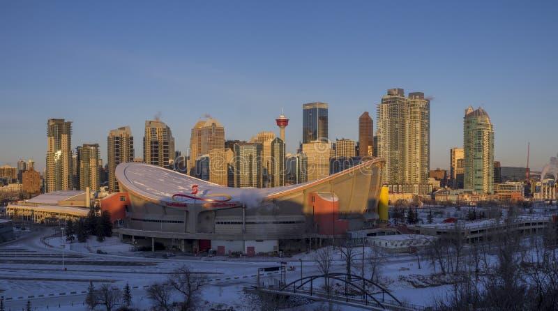 Skyline do ` s de Calgary no nascer do sol fotos de stock royalty free