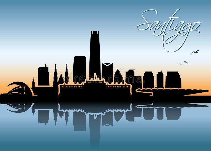 Skyline do Santiago - o Chile - ilustração do vetor ilustração do vetor