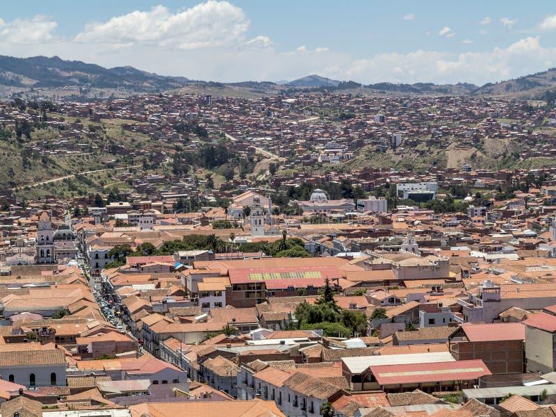 Skyline do sucre, Bolívia foto de stock