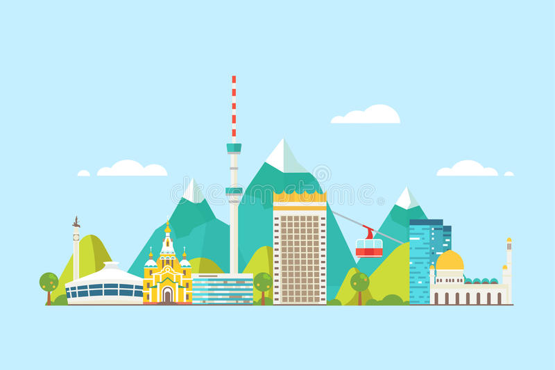 Skyline do sumário de Almaty