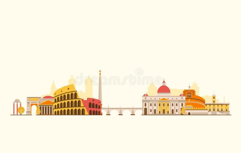Skyline do sumário de Roma ilustração do vetor
