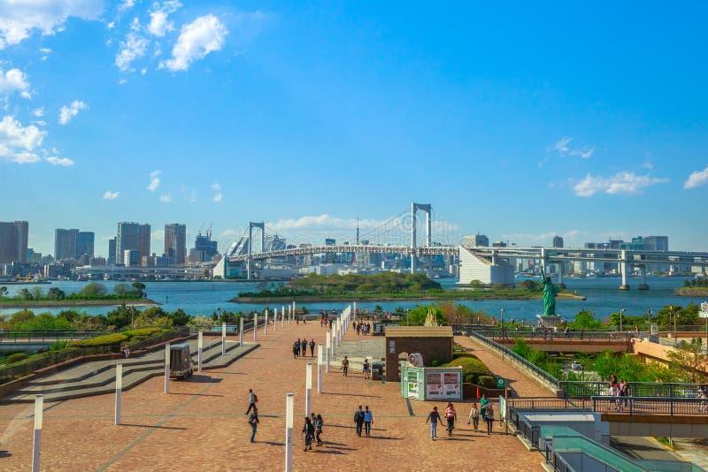 Skyline do Tóquio de Odaiba fotografia de stock