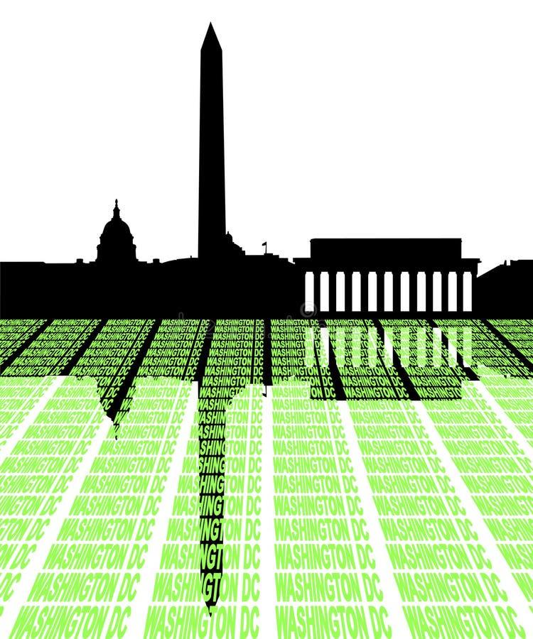 Skyline do Washington DC com texto ilustração royalty free