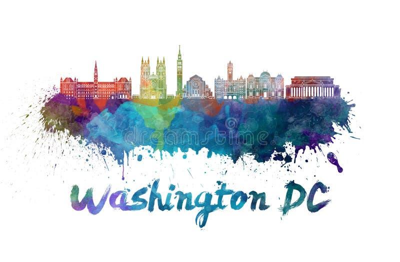 Skyline do Washington DC V2 na aquarela ilustração royalty free