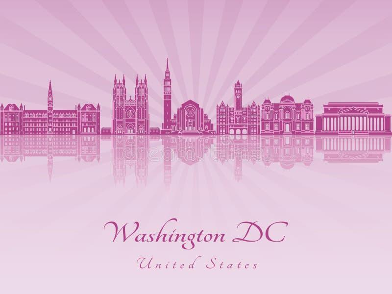 Skyline do Washington DC V2 na orquídea roxa do radint ilustração do vetor