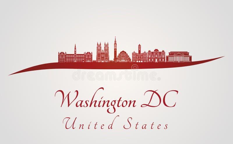Skyline do Washington DC V2 no vermelho ilustração royalty free