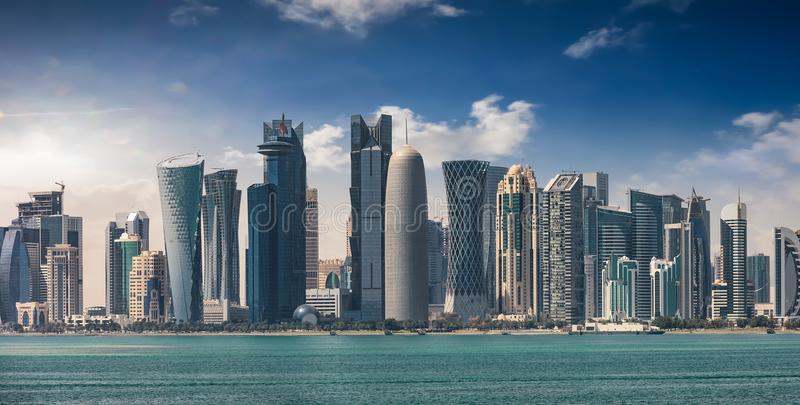 The skyline of Doha during a sunny afternoon stock image