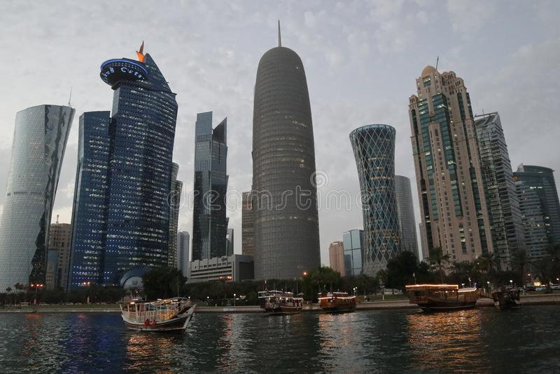 Skyline of Doha, Qatar, at night stock image