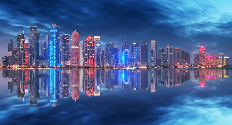 Skyline of Doha, Qatar during night stock image