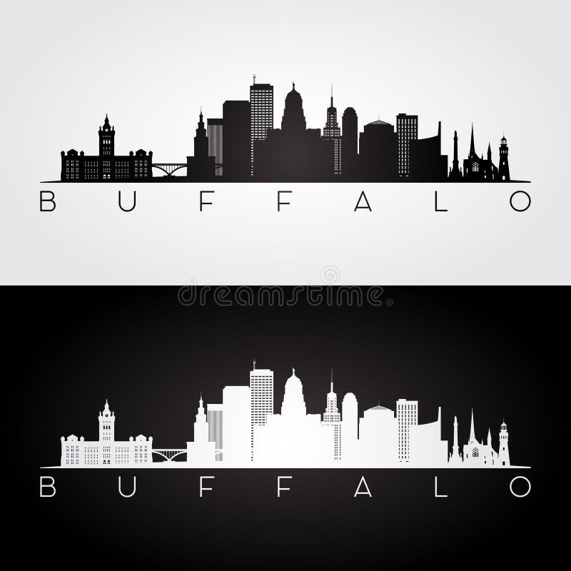Skyline dos EUA do búfalo e silhueta dos marcos