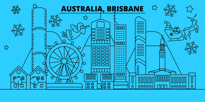 Skyline dos feriados de inverno de Austrália, Brisbane O Feliz Natal, ano novo feliz decorou a bandeira com Santa Claus liso ilustração do vetor