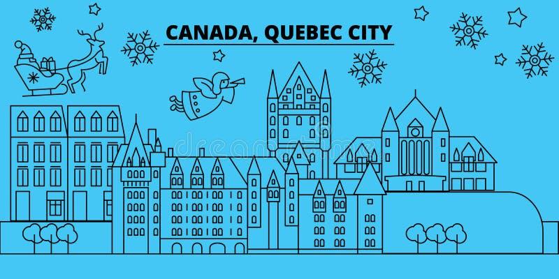 Skyline dos feriados de inverno de Canadá, Cidade de Quebec O Feliz Natal, ano novo feliz decorou a bandeira com Santa Claus cana ilustração stock