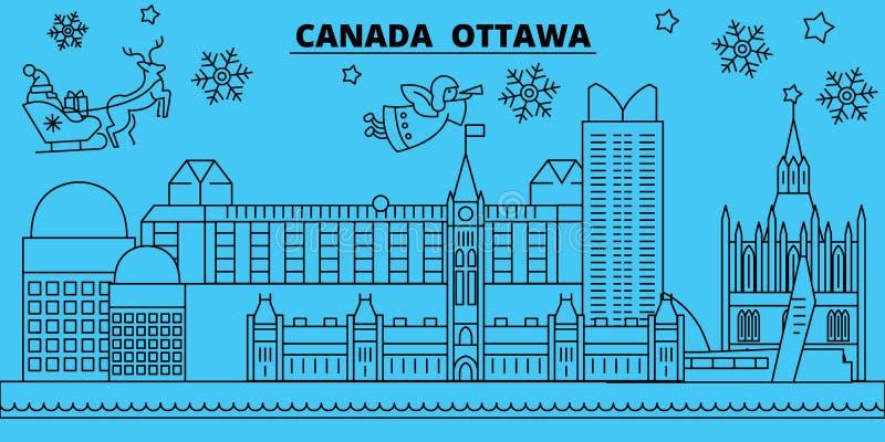 Skyline dos feriados de inverno de Canadá, Ottawa O Feliz Natal, ano novo feliz decorou a bandeira com Santa Claus Canadá, Ottawa ilustração royalty free
