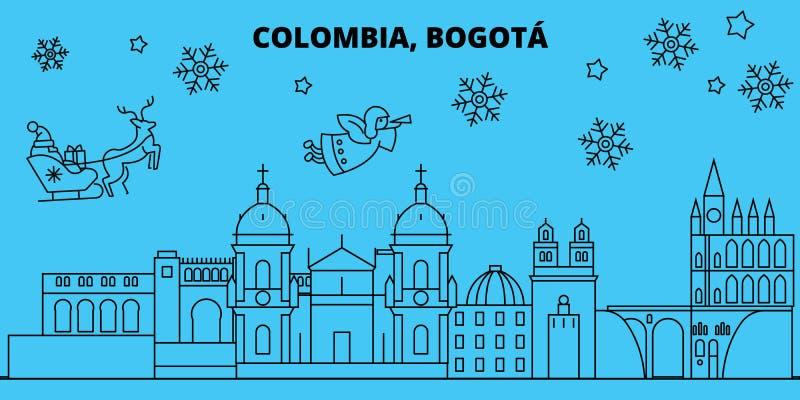 Skyline dos feriados de inverno de Colômbia, Bogotá O Feliz Natal, ano novo feliz decorou a bandeira com Santa Claus liso ilustração do vetor