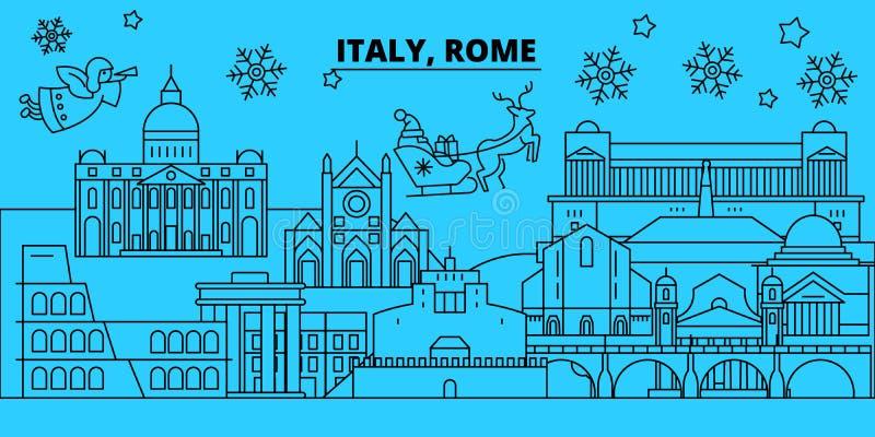 Skyline dos feriados de inverno da cidade de Itália, Roma O Feliz Natal, ano novo feliz decorou a bandeira com Santa Claus Itália ilustração do vetor
