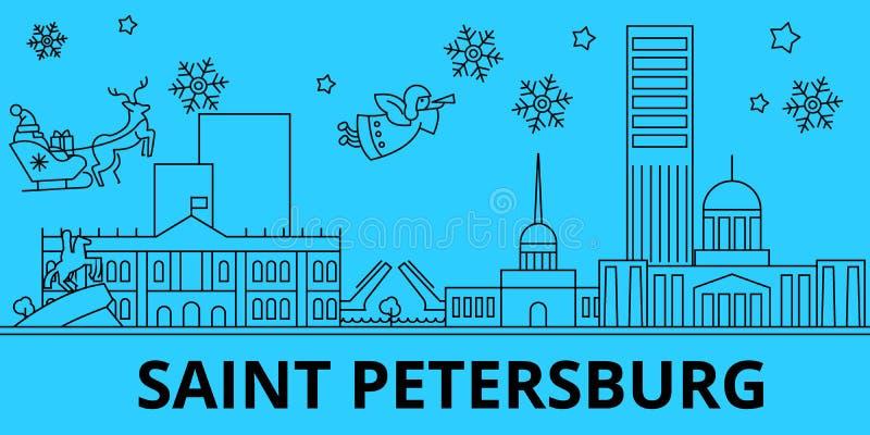Skyline dos feriados de inverno da cidade de Rússia, St Petersburg Feliz Natal, ano novo feliz com Santa Claus Rússia, Sain ilustração do vetor