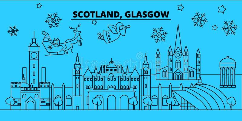 Skyline dos feriados de inverno de Escócia, Glasgow O Feliz Natal, ano novo feliz decorou a bandeira com Santa Claus scotland ilustração royalty free