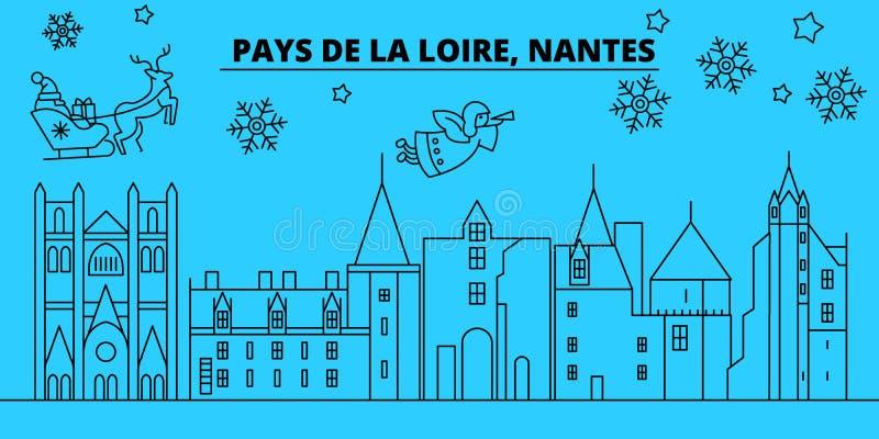 Skyline dos feriados de inverno de França, Nantes O Feliz Natal, ano novo feliz decorou a bandeira com Santa Claus França, Nantes ilustração do vetor