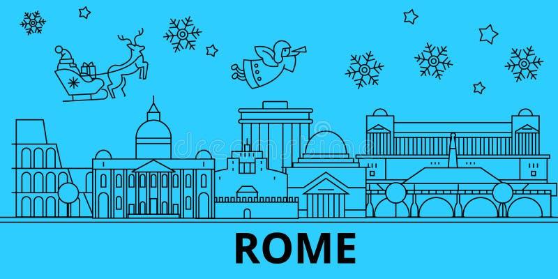 Skyline dos feriados de inverno de Itália, Roma O Feliz Natal, ano novo feliz decorou a bandeira com Santa Claus Itália, Roma ilustração stock