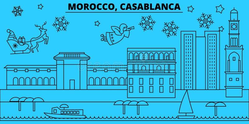 Skyline dos feriados de inverno de Marrocos, Casablanca O Feliz Natal, ano novo feliz decorou a bandeira com Santa Claus marrocos ilustração royalty free